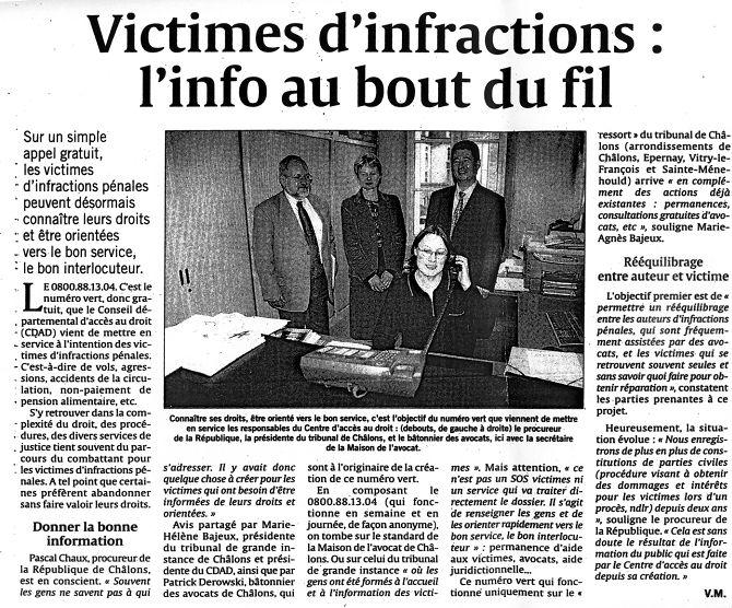 Victimes d'infractions : l'info au bout du fil